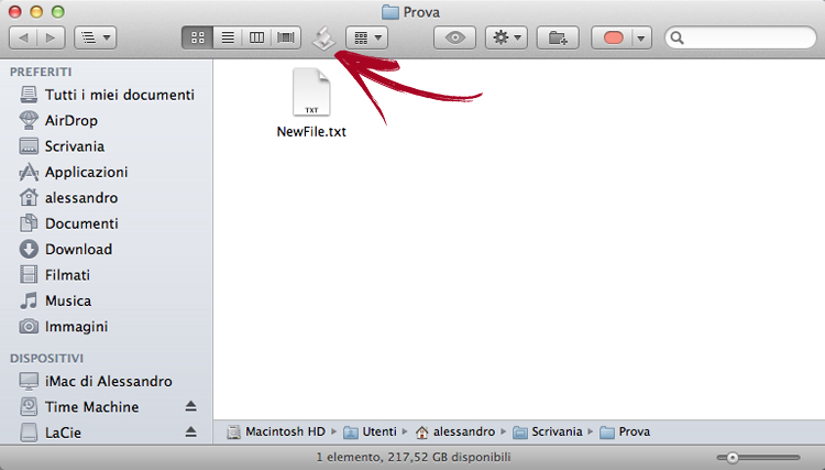 Mac Os X: How to create a new text file directly from the Finder's windows